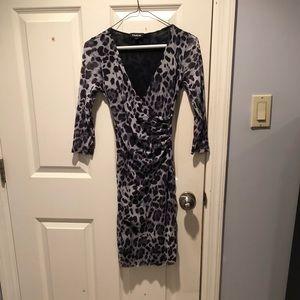 Bebe Blue and Black Leopard Dress!